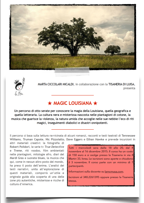 Magic Louisiana - corso di Lett. Americana McMusa - locandina